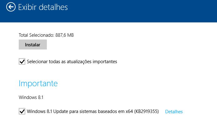 Instalando o Windows 8.1 Update ou atualização KB2919355 (Foto: Reprodução/Edivaldo Brito)