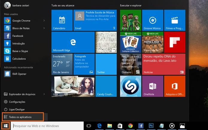 Acesse a lista de todos os aplicativos no Windows 10 (Foto: Reprodução/Barbara Mannara)