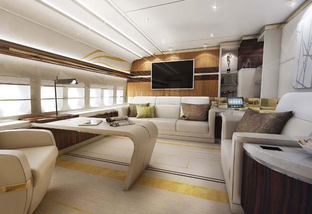 Avião se assemelha a hotel cinco estrelas  (Foto: Greenpoint Technologies/Divulgação)