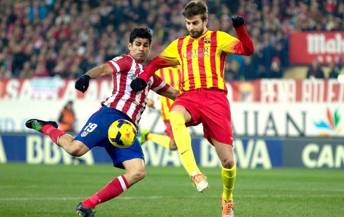 Diego Costa e Pique Barcelona e Atlético de Madrid (Foto: Getty Images)