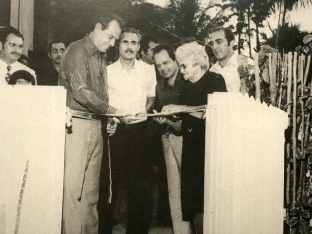 Phelippe Daou durante inauguração da primeira sede da TV Amapá (Foto: Arquivo Museu da Rede Amazônica)