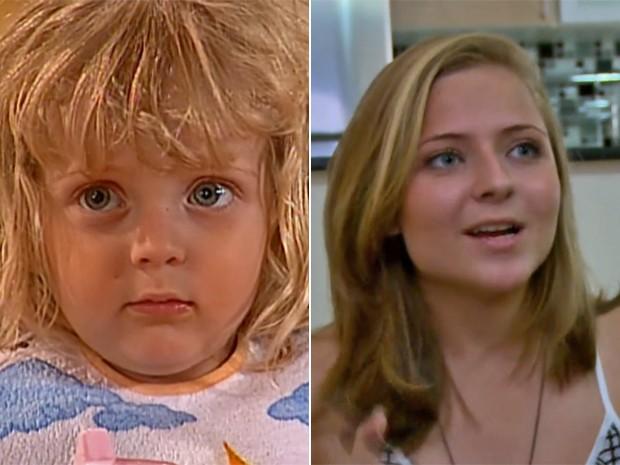 Antes e depois! Júlia Maggessi, à esquerda, com 2 anos em Laços de Família e, à direita, em momento atual (Foto: Vídeo Show / TV Globo)