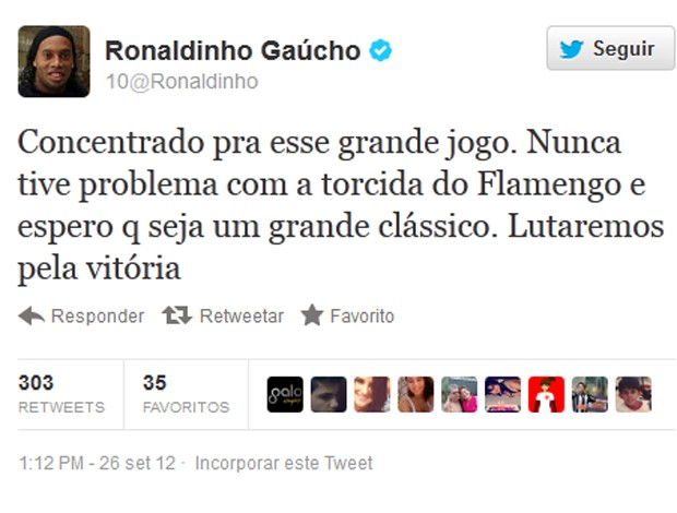 Ronaldinho, Twitter (Foto: Reprodução / Twitter)