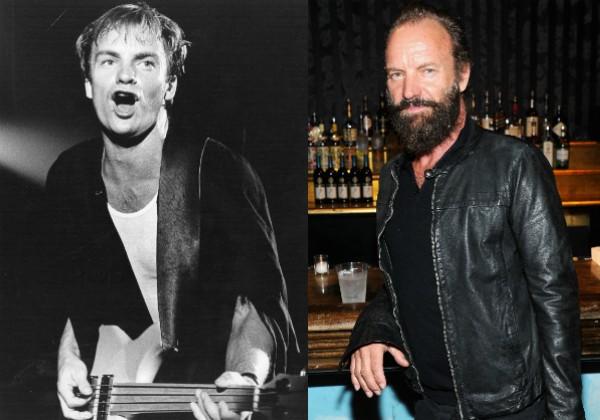 Sting na sua época de The Police e hoje, aos 64 anos (Foto: Editora Globo)