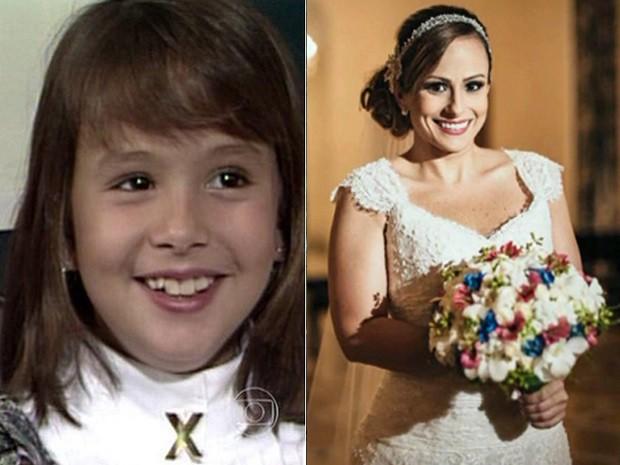 Antes e Depois: Duda como atriz mirim e como integrante da equipe do Mais Você (Foto: Mais Você/TV Globo)