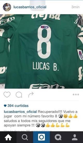 Barrios anuncia em rede social que é o novo dono da camisa 8 do ... 8e57759ce2bc3
