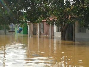 Itaqui está submersa em razão da cheia do rio (Foto: Reprodução RBSTV)