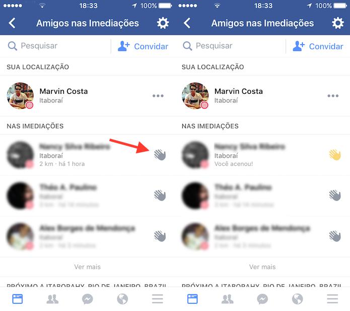 Opção para enviar uma saudação para um amigo que está nas imediações no Facebook para iPhone (Foto: Reprodução/Marvin Costa)