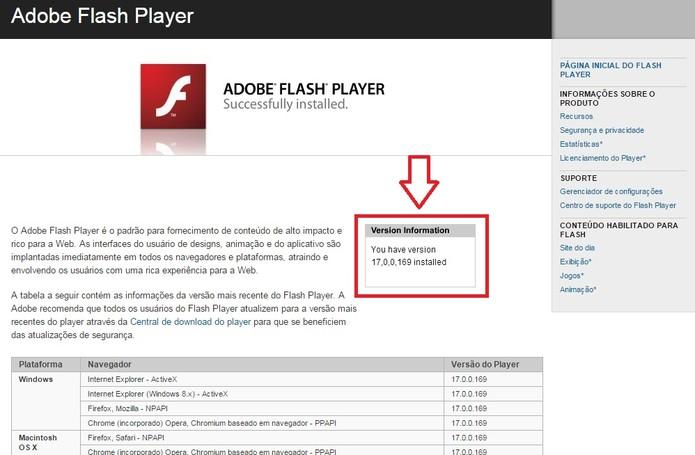 Verifique a versão do Flash Player instalada no seu computador (Foto: Reprodução/Flash Player)