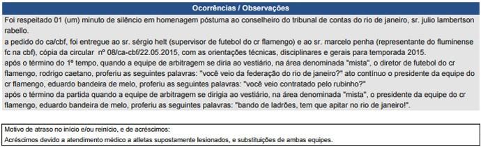 Súmula Flamengo e Fluminense acusação Rodrigo Caetano e Eduardo Bandeira de Melo (Foto: Reprodução)