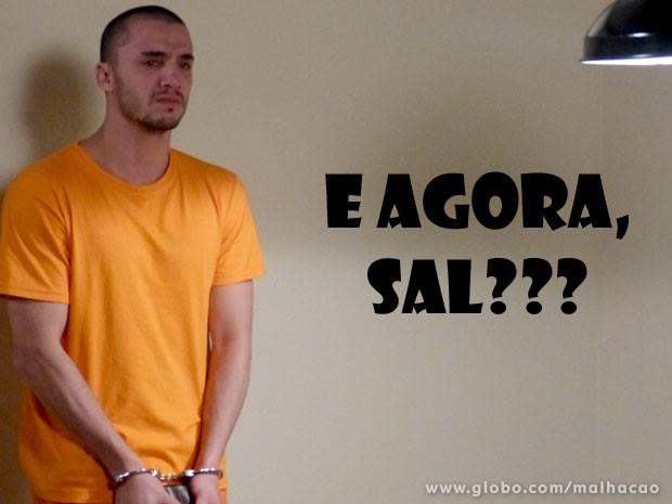 Sal fica boladão com Alemão e preocupado com a Lu (Foto: Malhação/ TV Globo)