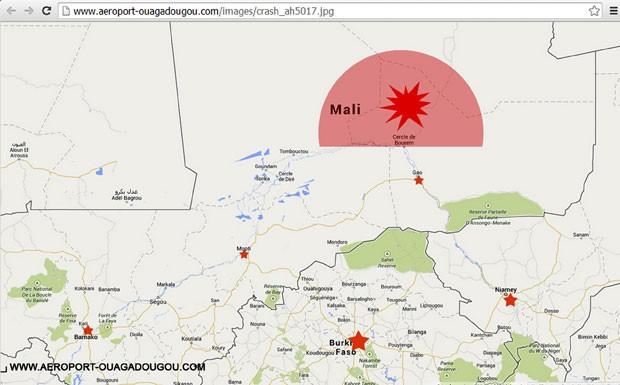 Mapa publicado no site do aeroporto de Ouagadougou mostra última localização conhecida do avião da Air Algerie que sumiu nesta quinta-feira (24)  (Foto: Ouagadougou airport/Reuters)
