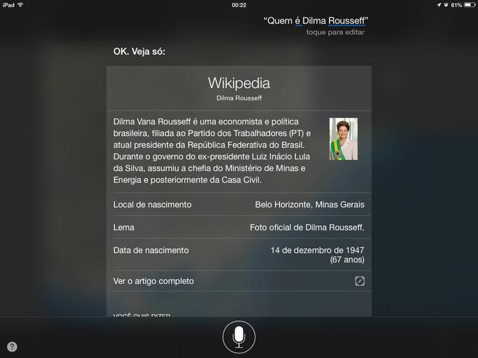 Siri em Português pode ler até artigos da Wikipedia, mas voz robótica atrapalha (Foto: Reprodução/Elson de Souza)