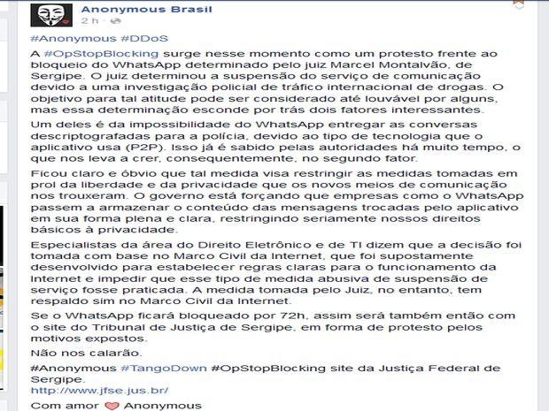 Página no Facebook do Anonymous Brasi (Foto: Reprodução / Facebook)