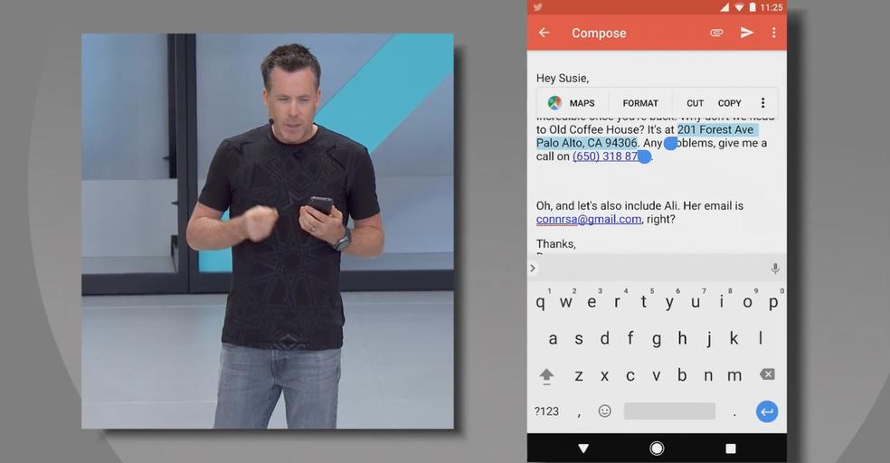 A inteligência artificial do Android 8 reconhece que se trata de um endereço e oferece a exibição da informação selecionada diretamente no Google Maps (Foto: Reprodução/Google)
