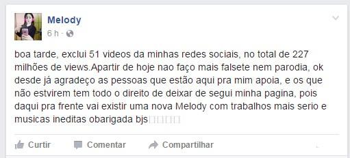 Melody (Foto: Facebook / Reprodução)