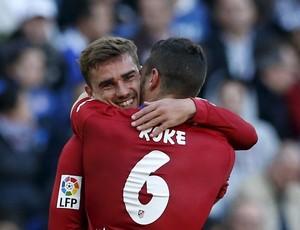 Griezmann e Koke comemoram gol, Espanyol x Atletico de Madrid