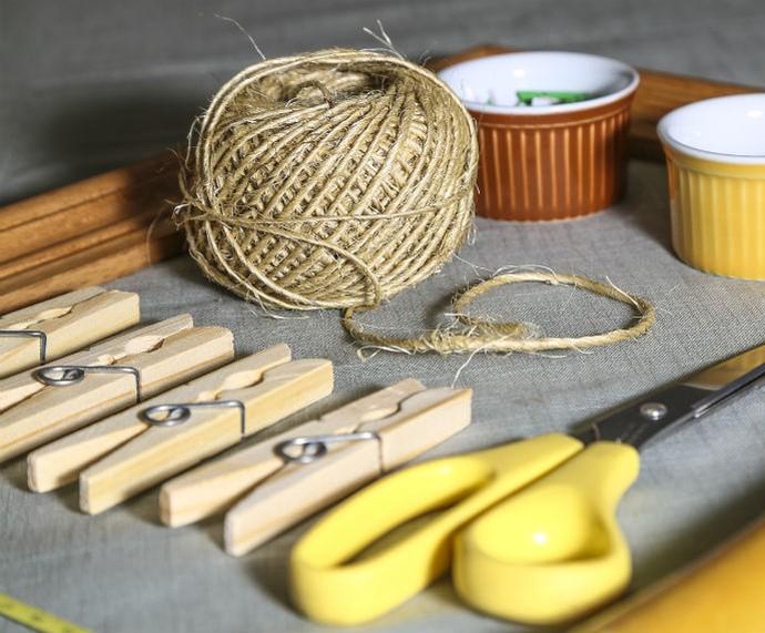 Materiais que você vai precisar para construir seu varal de fotos (Foto: Fábio Rocha/Gshow)
