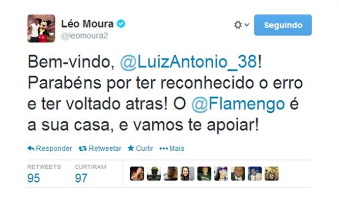 Léo Moura apoia Luiz Antônio (Foto: Reprodução / Twitter)