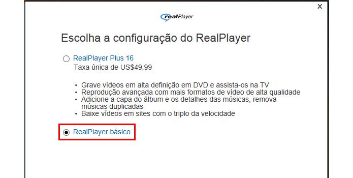 A versão básica do RealPlayer é suficiente para obter o recurso de download de vídeos em flash (Foto: Reprodução/Paulo Alves)