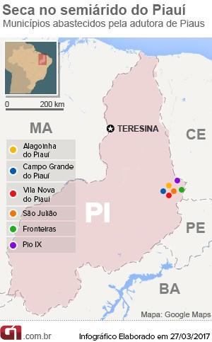 Cidades abastecidas pela Adutora de Piaus, no Piauí (Foto: G1 Piauí)