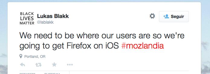 Lukas Blakk anunciou a nova posição da Mozilla em seu Twitter (Foto: Reprodução/Edivaldo Brito)