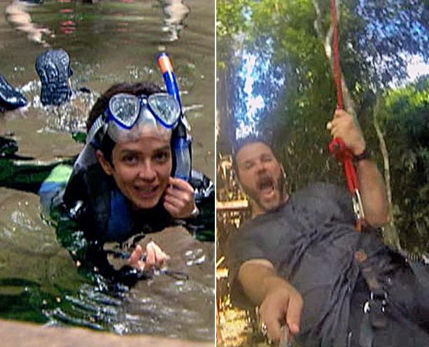Flutuação e tirolesa: Nadia e Jimmy aproveiam Nobres  (Foto: TVCA)