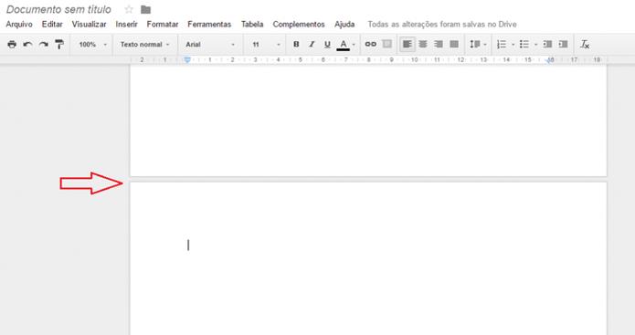 Pronto, quebra de página inserida no Google Docs  (Foto: Reprodução/Luana Marfim)