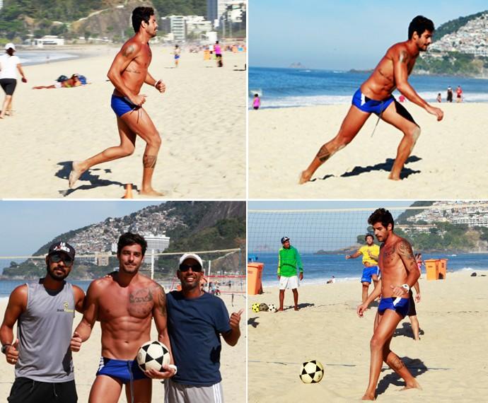 O ex-BBB com o professor fazendo treinamento funcional na praia do Leblon, Rio de Janeiro (Foto: Léo Braga)