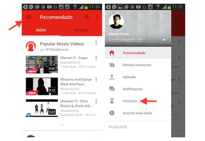 Acessando a página de histórico de vídeos assistidos no YouTube através de um dispositivo Android (Foto: Reprodução/Marvin Costa)