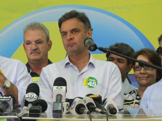 Aécio diz que institutos de pesquisa estão devendo explicações ao país (Foto: Gabriela Pavão/ G1 MS)