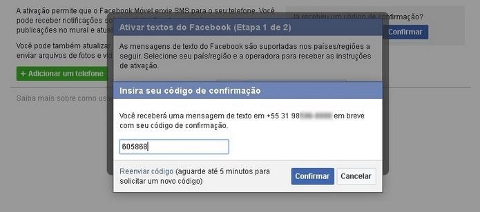 Confirmação do código enviado pelo Facebook via SMS (Foto: Reprodução/Raquel Freire)