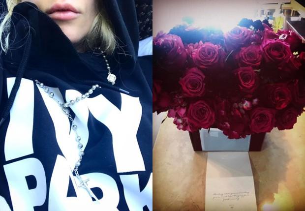 Lady gaga mostra presentes que ganhou de Beyoncé (Foto: Reprodução/Instagram)