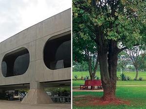 CCBB de Brasília: prédio desenhado por Oscar Niemeyer e jardins com vista para a Ponte JK (Foto: Jamila Tavares/G1)