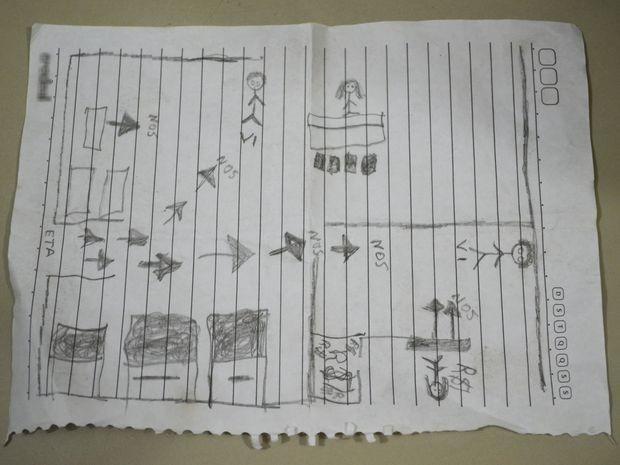 Desenho do plano tem traços semelhantes aos de uma criança (Foto: Marina Fontenele/G1)