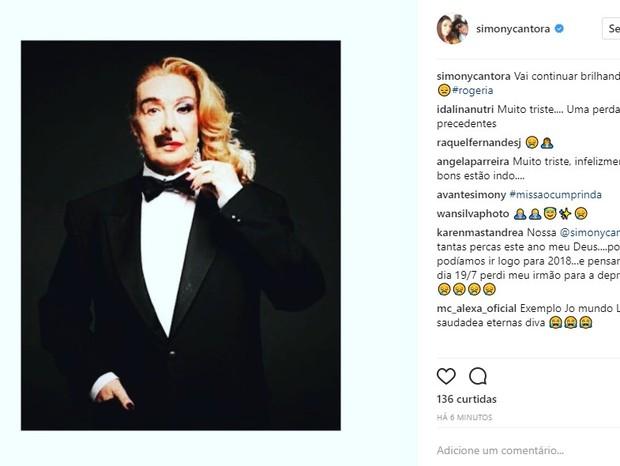 Simony lamenta morte de Rogéria (Foto: Reprodução/Instagram)