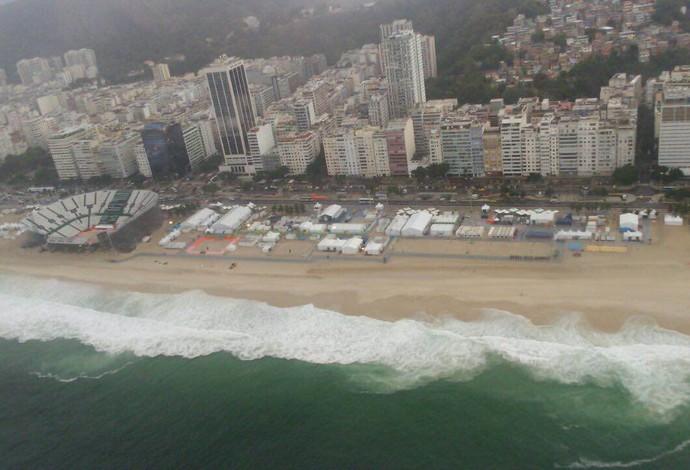 Fotos aereas da arena de vôlei de praia (Foto: GloboEsporte.com)
