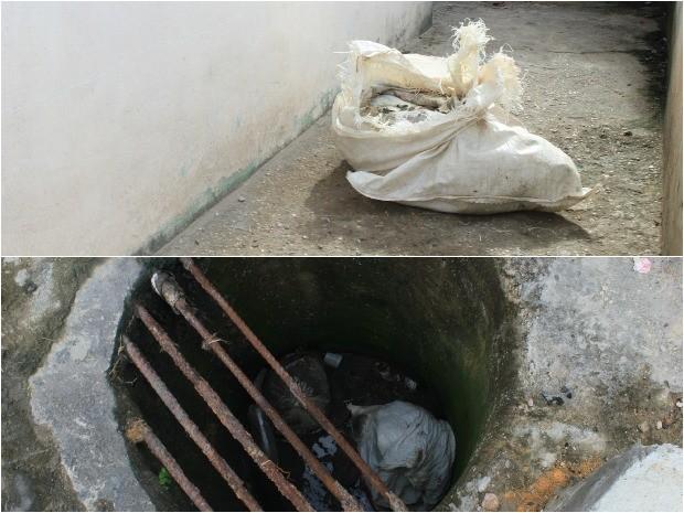 Corpo foi colocado em sacos de fibra e em seguida jogados em bueiro, diz Polícia (Foto: Marcos Dantas/G1 AM)