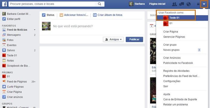 Acesse o menu do topo do Facebook e abra sua página (Foto: Reprodução/Barbara Mannara)