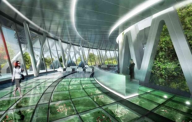 As plantas ficarão nas varandas dos apartamentos e nas áreas comuns do prédio, que terão paredes e piso de vidro (Foto: Vincent Callebaut Architectures)