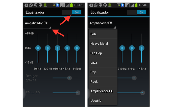Utilizando o equalizador do Spotify no Android (Foto: Reprodução/Marvin Costa)