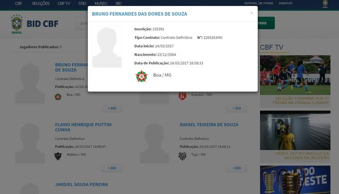 Nome de Bruno Fernandes já aparece no BID e ele já pode estrear pelo Boa Esporte (Foto: Reprodução CBF)