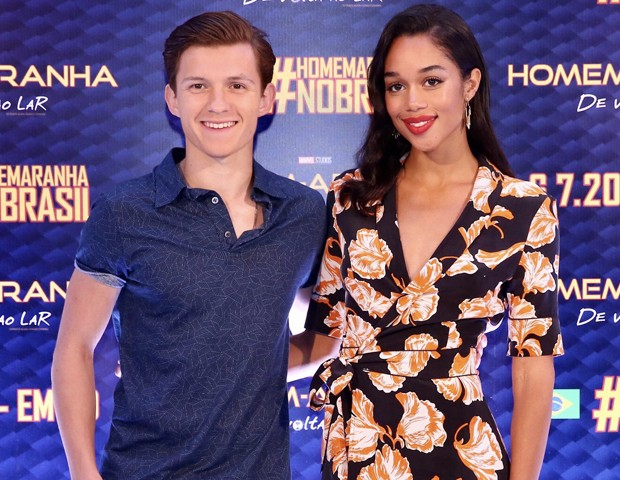 Tom Holland e Laura Harrier em SP (Foto: Manuela Scarpa/Brazil News)