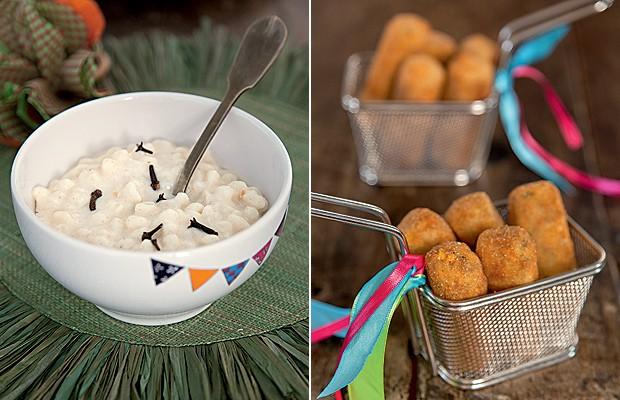 Milho em duas versões: Da Ghee Banqueteria: canjica com amendoim e croquetinhos de milho com carne moída.  Bowl Zuppa Atelier e jogo americano Tania Bulhões Home (Foto: Cacá Bratke)