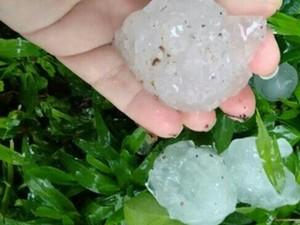 Granizo caiu em chuva que durou cerca de 10 minutos, segundo moradores (Foto: Thaniely Eglesias/Arquivo pessoal)