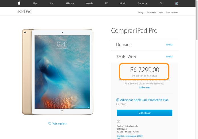 iPad Pro pode ser comprado no site em três modelos com cores em prateado, dourado e cinza (Foto: Reprodução/Thássius Veloso)