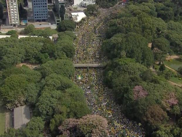 Manifestação Parcão Porto Alegre pró impeachment (Foto: Reprodução/RBS TV)