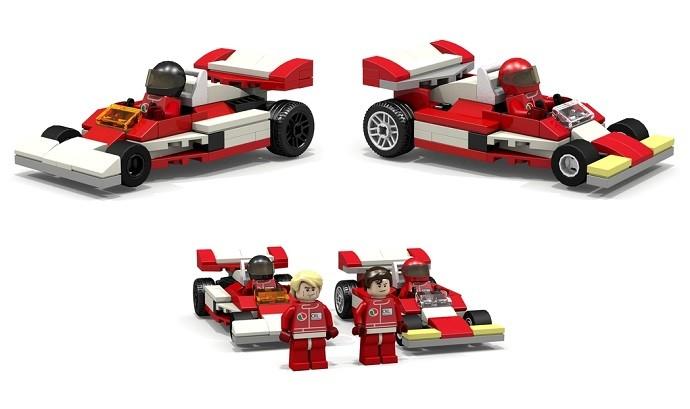 Personagens e carros do filme 'Rush' feitos em peças de Lego