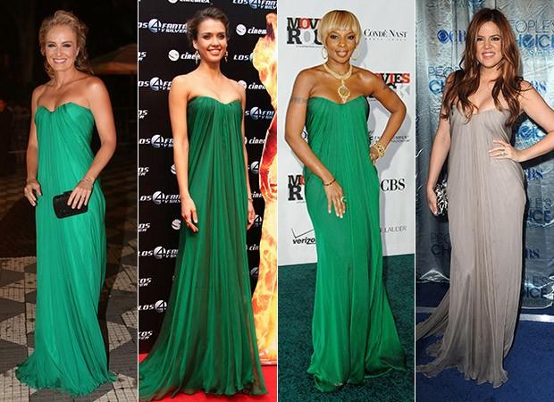 Vestidos iguais: Angélica, Jessica Alba , Mary J Blige e Khloe Kardashian (Foto: Agência Getty Images)