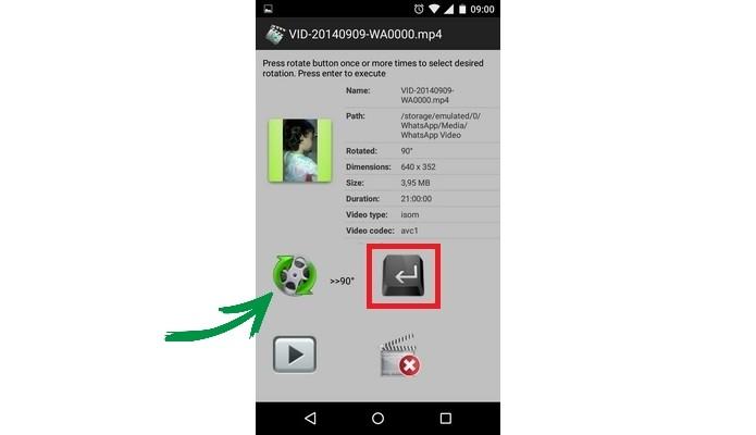 Como girar um vdeo no android conserte a gravao com fast video botes de girar e enter do fast video rotate destacados foto reproduo raquel ccuart Choice Image